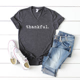 Thankful- Typewriter | V-Neck Graphic Tee