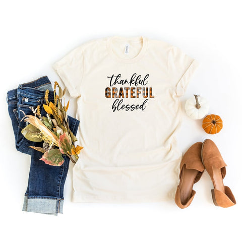 Thankful Grateful Blessed Plaid | Short Sleeve Graphic Tee