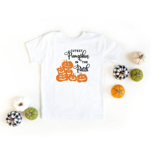 Cutest Pumpkin In The Patch Glitter Ink Youth | Short Sleeve Graphic Tee