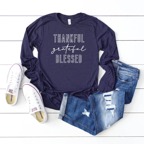 Thankful Grateful Blessed | Long Sleeve Graphic Tee