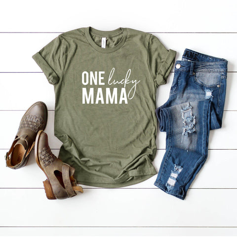 One Lucky Mama Short Sleeve Graphic Tee