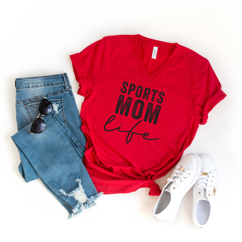 Sports Mom Life | V-Neck Graphic Tee