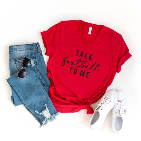 Talk Football To Me | V-Neck Graphic Tee
