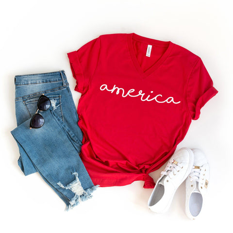 America | V-Neck Graphic Tee