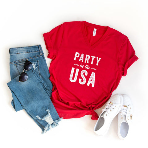 Party in the USA | V-Neck Graphic Tee