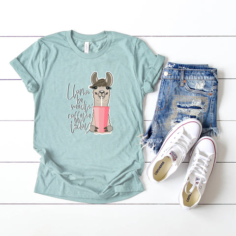 Llama be Needin' Caffeine Today | Short Sleeve Graphic Tee