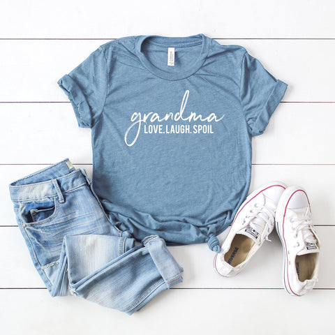 Grandma Love Laugh Spoil | Short Sleeve Graphic Tee