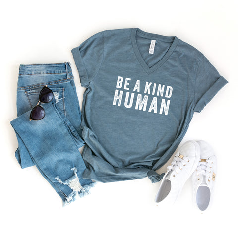 Be a Kind Human | V-Neck Graphic Tee