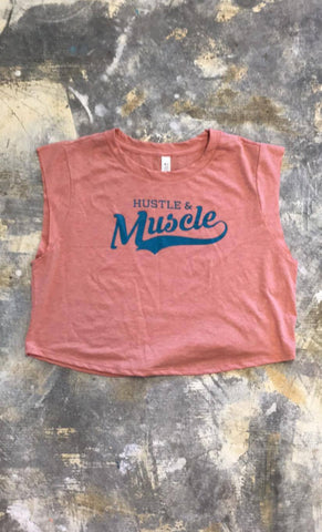 Hustle and Muscle Cropped Tank