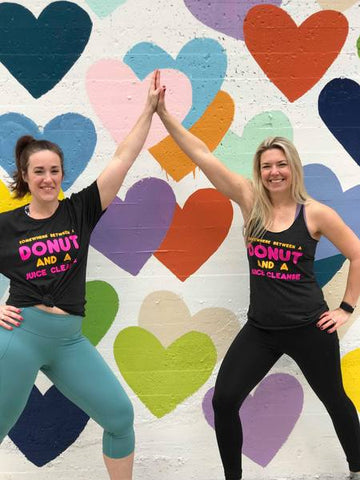 High Five with Two Girls Wearing Donut and Juice Cleanse T-Shirt and Tank