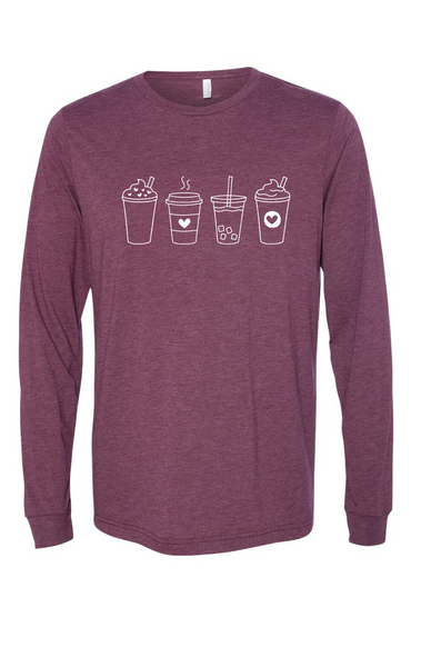 4 Coffees Long Sleeve Tee