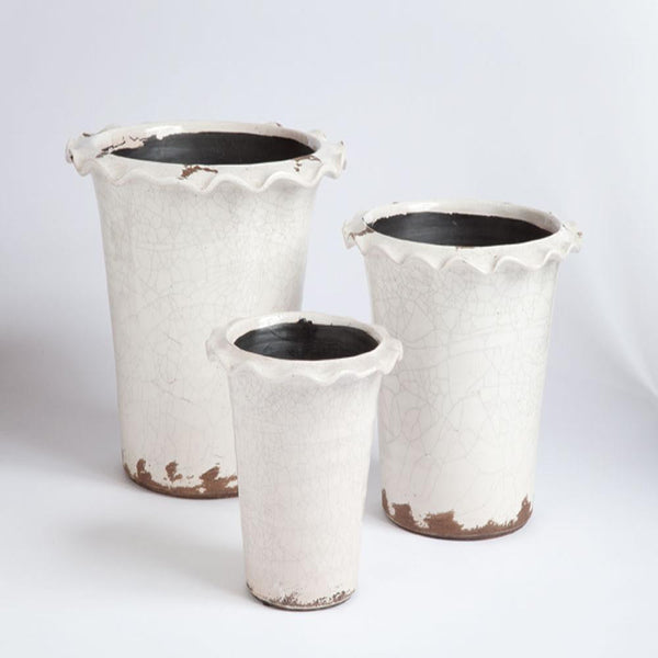 Vintage Fluted Edge Pots White