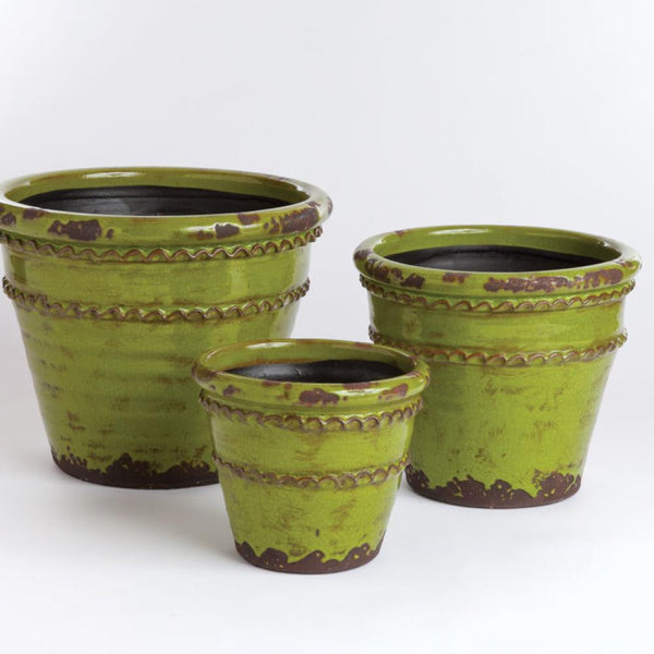 Vintage Double Fluted Pots Apple Green