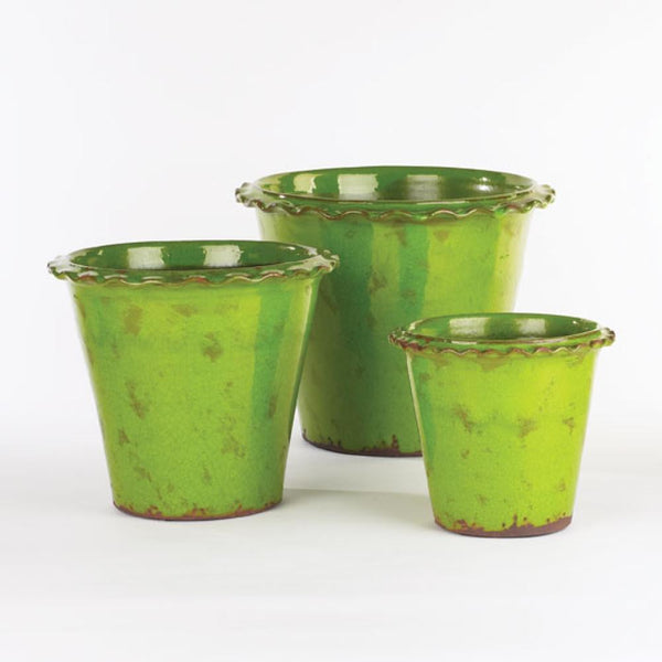 Vintage Fluted Edge Pots Apple Green