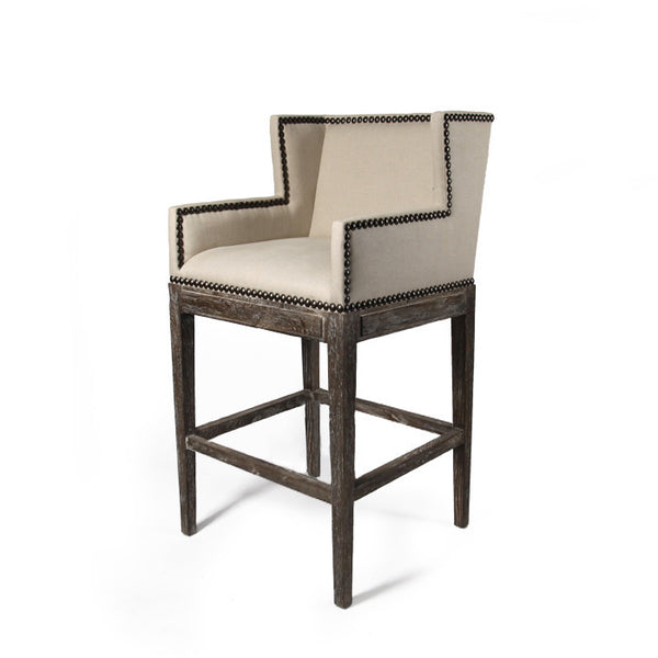 Linen Nailhead Bar Stool