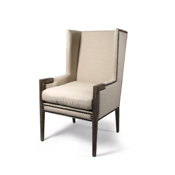 Linen Nailhead Wing Chair