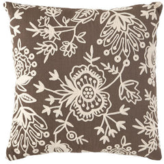 Fresh American Flora Crewel Charcoal Pillow