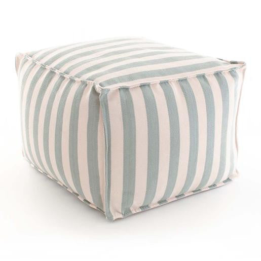 Fresh American Trimaran Stripe Light Blue/Ivory Pouf