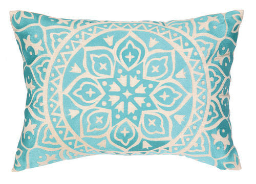 Medallion Turquoise Embroidered Pillow