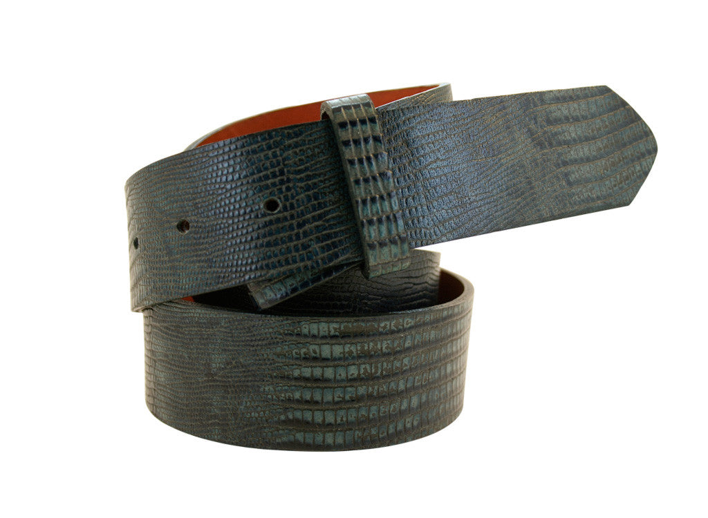 Blue Lizard Embossed Leather Strap