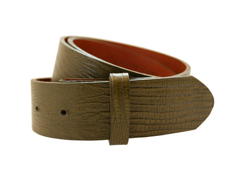Green Lizard Embossed Leather Strap