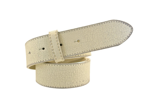 Distressed White Leather Strap