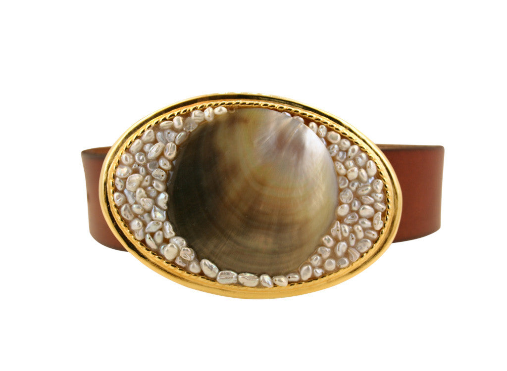 Large Gold Oyster Shell Buckle