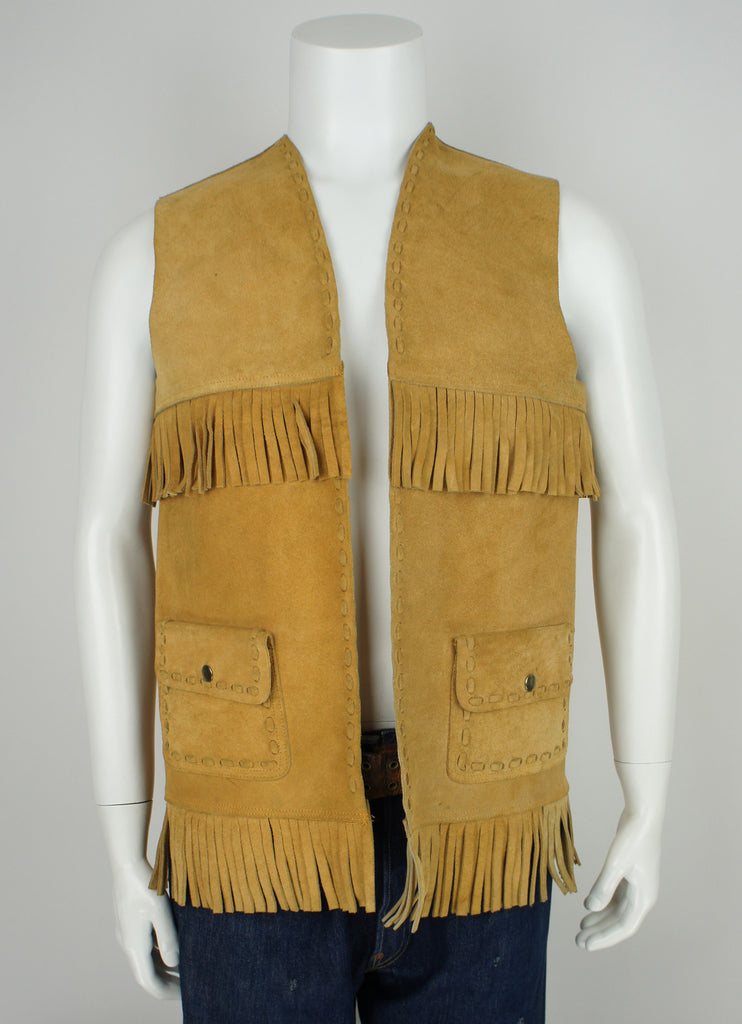 vintage 70's unisex leather fringe hippie/rocket vest M/L