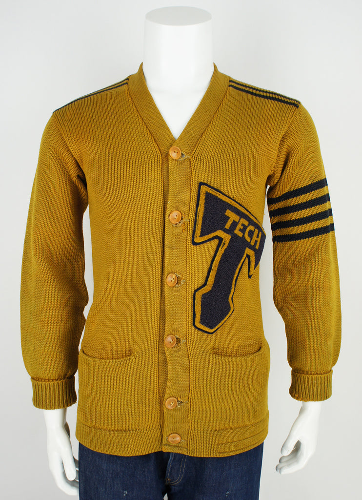 vintage 40's letterman varsity sweater embroidered patch S/M