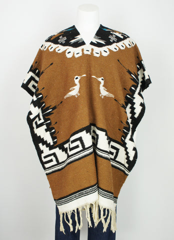 vintage ethnic wool folk poncho all size