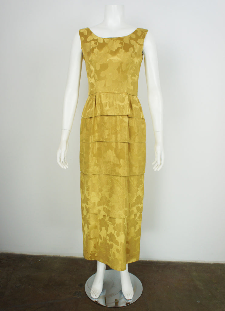 1960Gold Vintage evening dress both cocktail and formal length