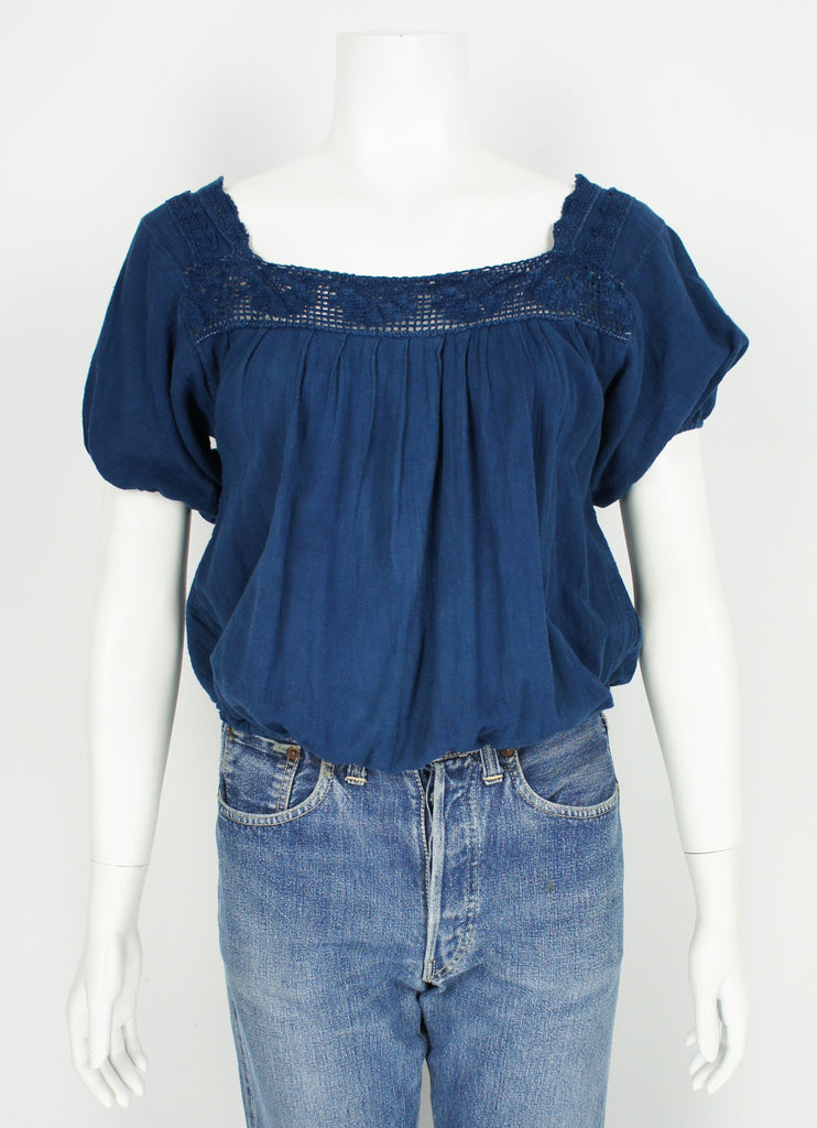 Vintage Peasant Folk Boho Blouse top Hand Dyed in Organic Fermented Natural Indigo sz Small
