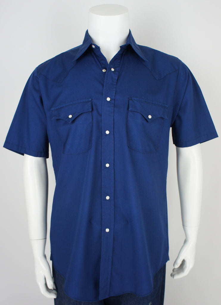 perfect condition navy blue short sleeve western cowboy shirt