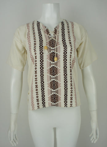 vintage 1970's embroidered boho folk blouse