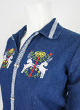 Embroidered Indigo Blouse