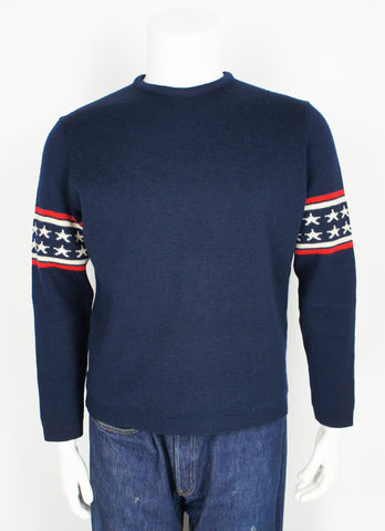 vintage 1970's Demetre pro ski racing sweater stars and stripes medium