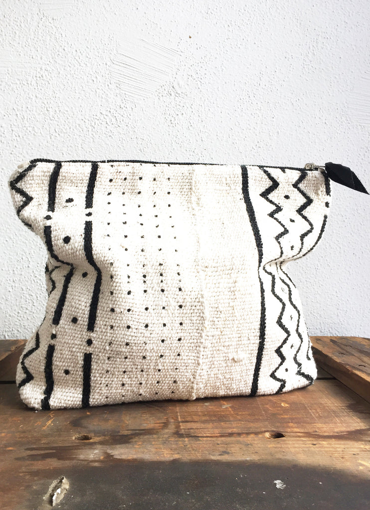 African Mali Mud Cloth Handmade Purse in Graphic Black and White Print