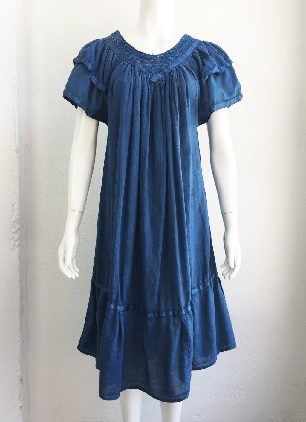 Vintage Hand Dyed Natural Indigo Dress