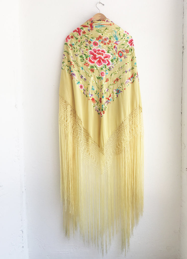 Vintage Piano Scarf in Yellow Silk with Fringe and Embroidery