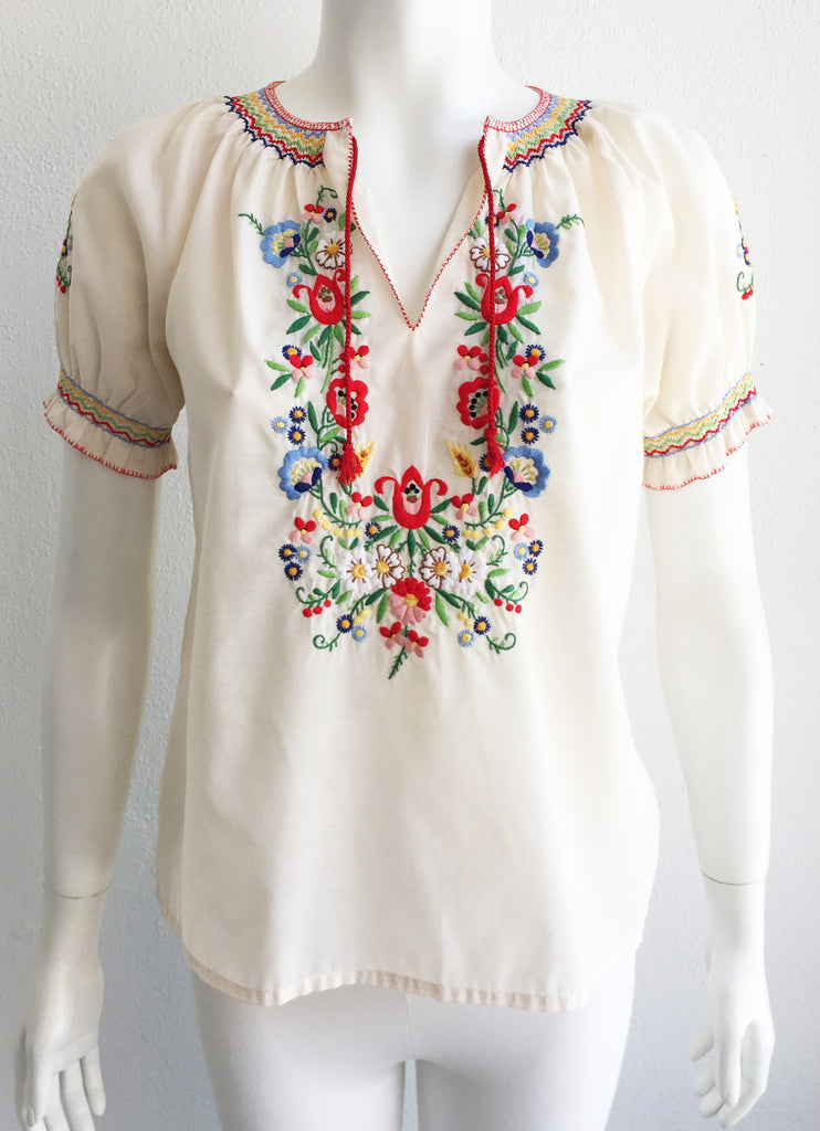 Vintage Embroidered Ethnic Peasant Blouse size Small