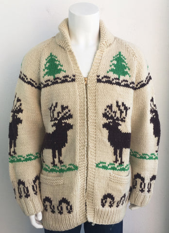 vintage Moose Reindeer Christmas Tree Cowachin Sweater Large
