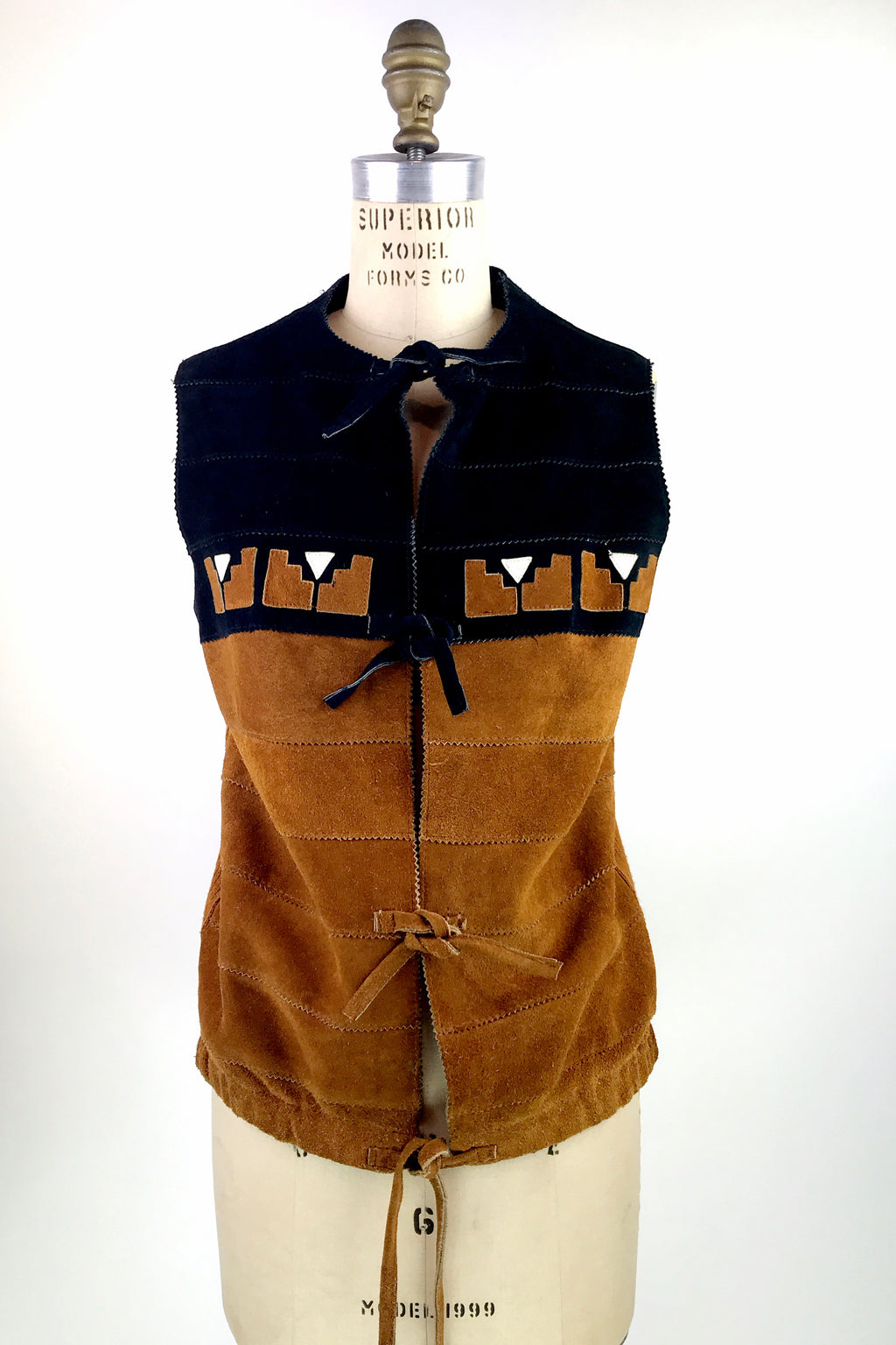 1970s Knit & Suede Top