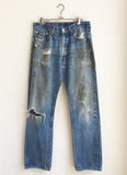 vintage Levi's 501 distressed indigo denim jeans 32 x 33