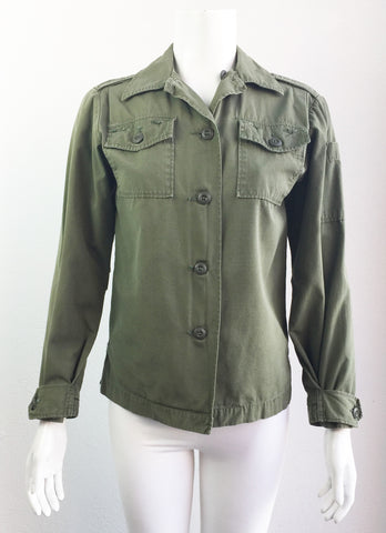 vintage ladies 70's US Army utility shirt size S/M