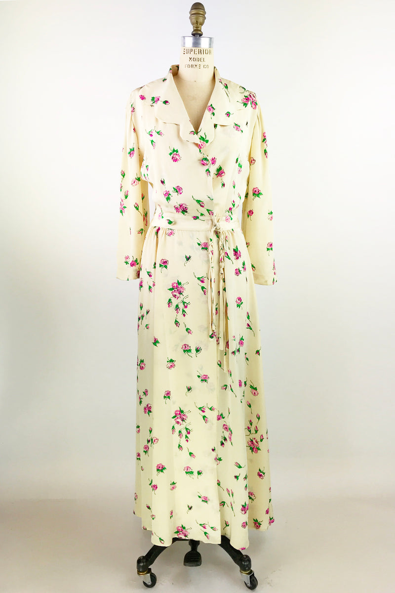 1940s Silk House Coat Dress