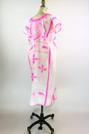 Hot Pink Embroidered Huipil Dress