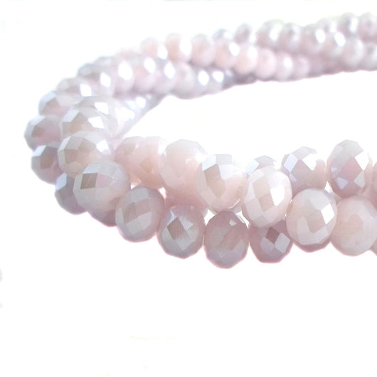 Glass Rondelle Beads D123 Lilac Opaque