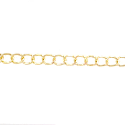 Curb Flat 13x10mm Aluminum Chain, Gold or Silver color, smooth, non tarnish, open links (CH-15606)