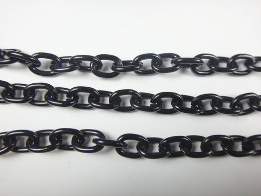 Cable Oval 10x7.8mm Aluminum Chain black color, smooth, non tarnish, open links (1368)