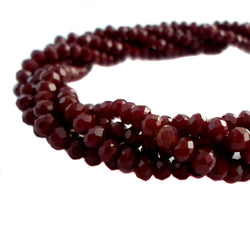 Glass Rondelle Beads E062 Dark Red Opaque